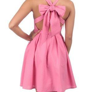 Lauren James pink seersucker fit flare dress bow S